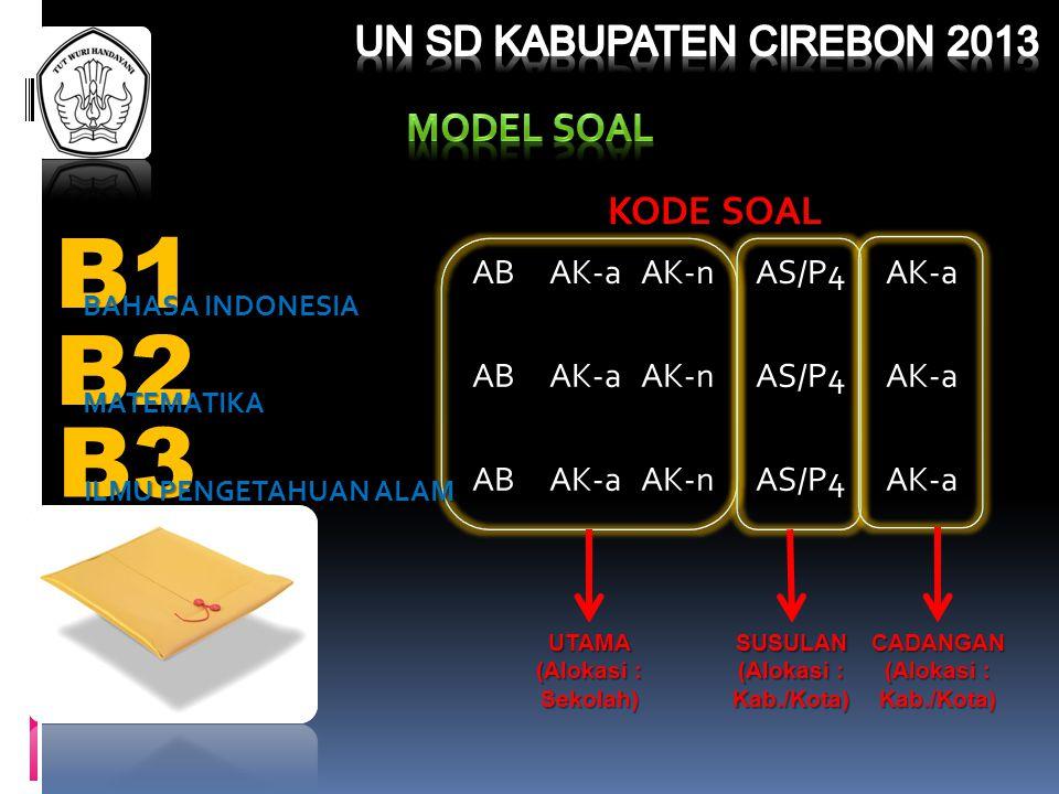 B1 B2 B3 UN SD KABUPATEN CIREBON 2013 MODEL SOAL KODE SOAL