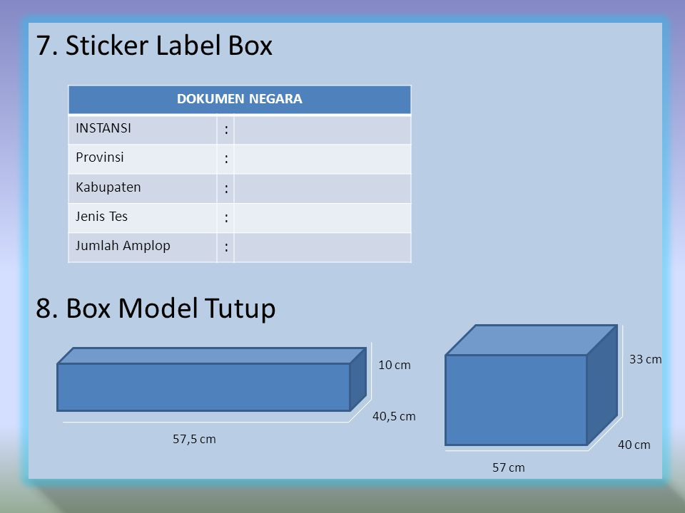 7. Sticker Label Box 8. Box Model Tutup