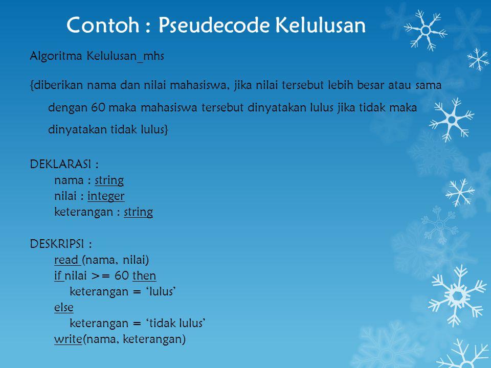 Contoh : Pseudecode Kelulusan