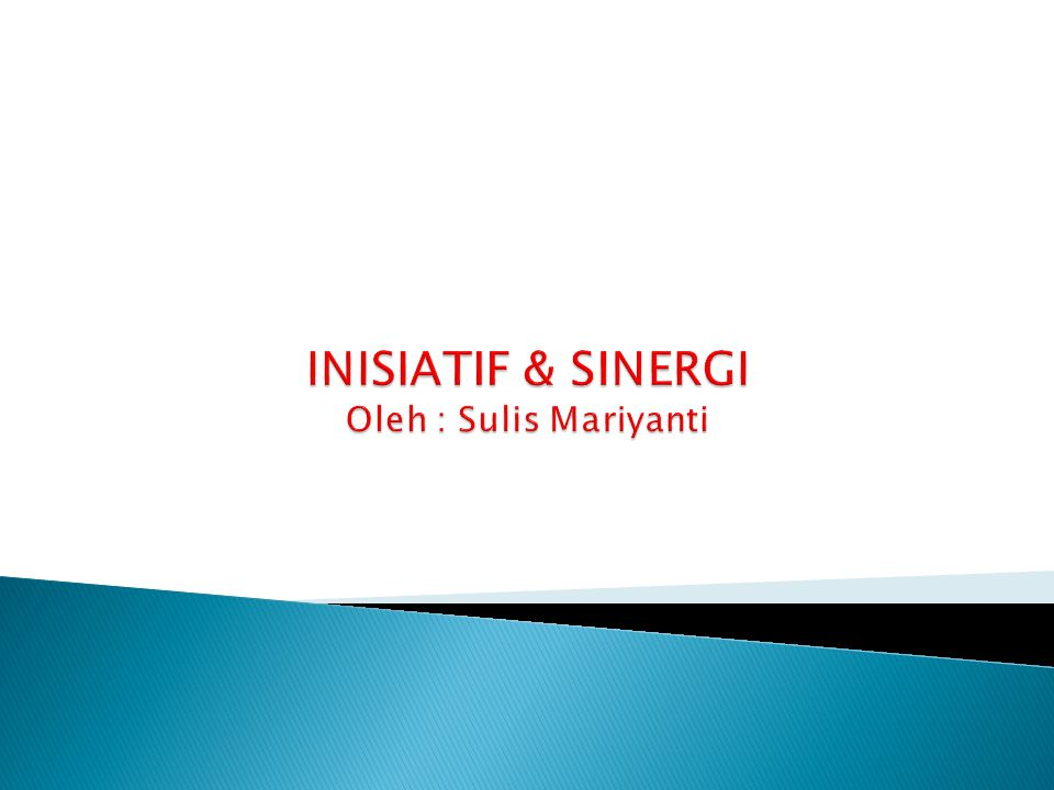 INISIATIF & SINERGI Oleh : Sulis Mariyanti