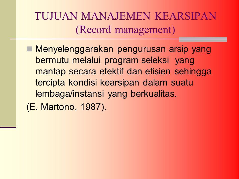 TUJUAN MANAJEMEN KEARSIPAN (Record management)