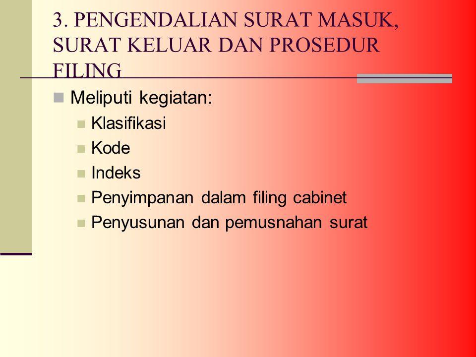 3. PENGENDALIAN SURAT MASUK, SURAT KELUAR DAN PROSEDUR FILING