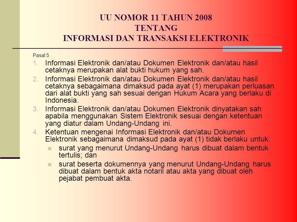 UU NOMOR 11 TAHUN 2008 TENTANG INFORMASI DAN TRANSAKSI ELEKTRONIK