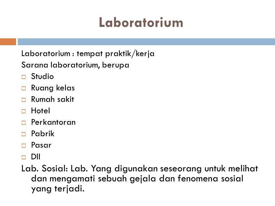 Laboratorium Laboratorium : tempat praktik/kerja. Sarana laboratorium, berupa. Studio. Ruang kelas.