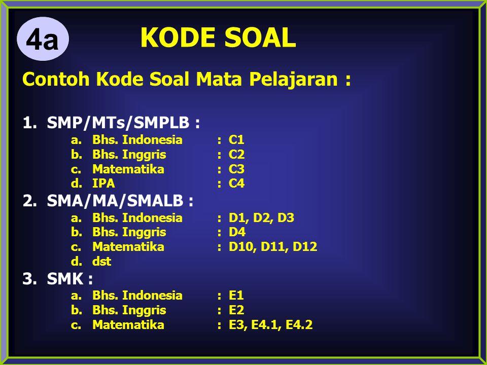 4a KODE SOAL Contoh Kode Soal Mata Pelajaran : SMP/MTs/SMPLB :