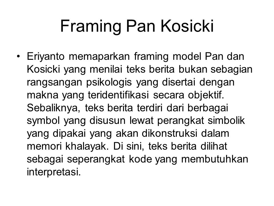Framing Pan Kosicki