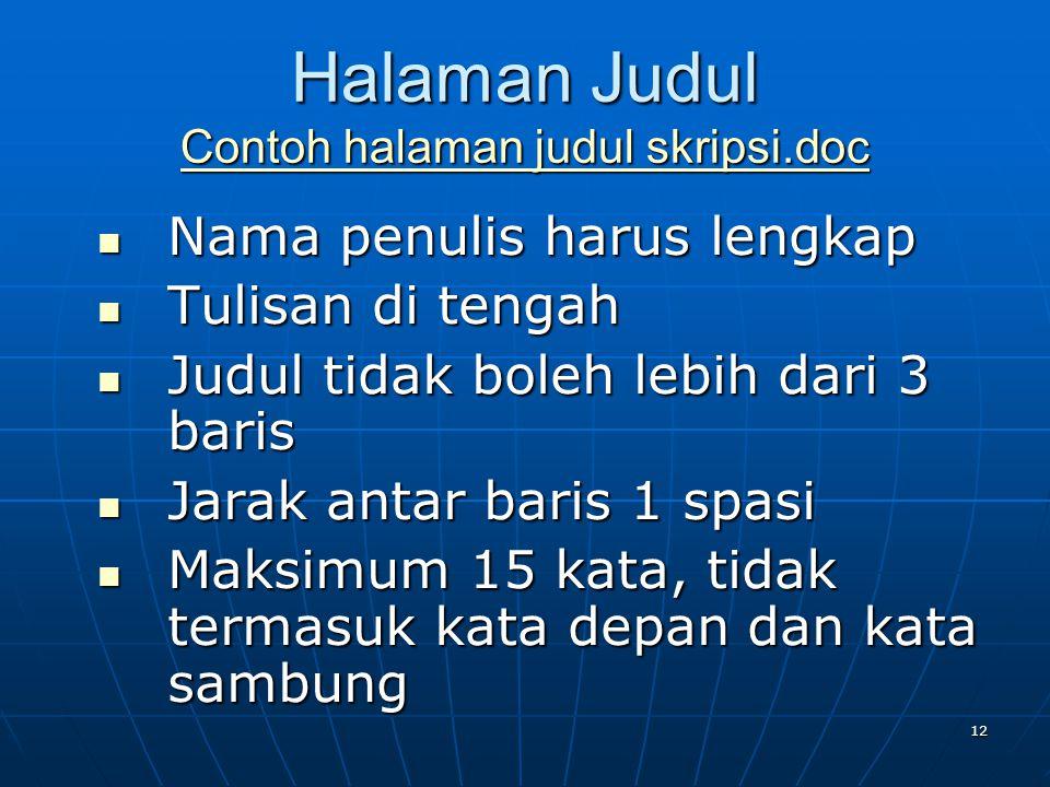 Halaman Judul Contoh halaman judul skripsi.doc