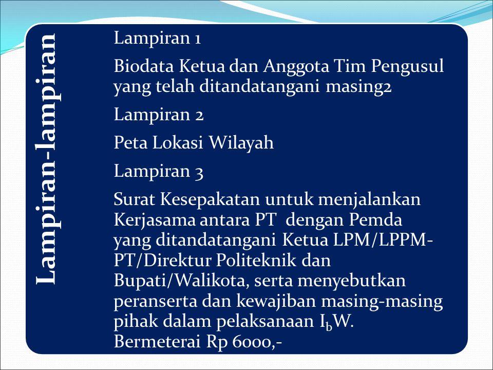 Lampiran-lampiran Lampiran 1 Biodata Ketua dan Anggota Tim Pengusul yang telah ditandatangani masing2.