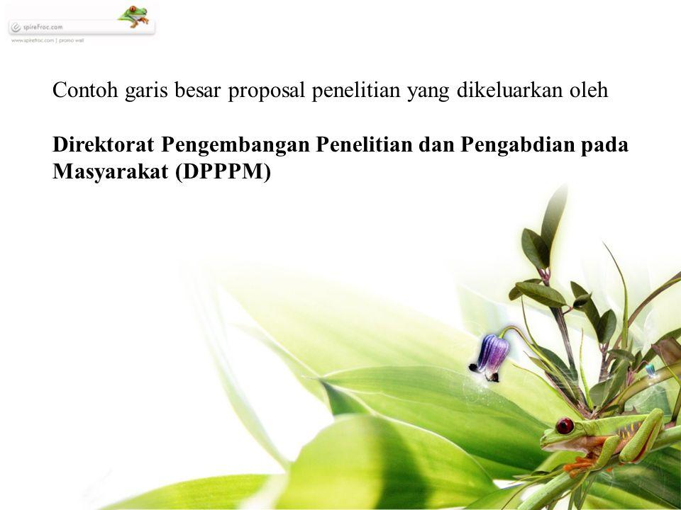 Contoh garis besar proposal penelitian yang dikeluarkan oleh