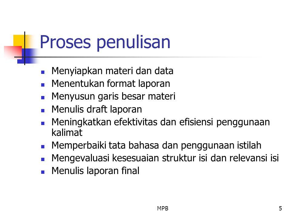 Proses penulisan Menyiapkan materi dan data Menentukan format laporan