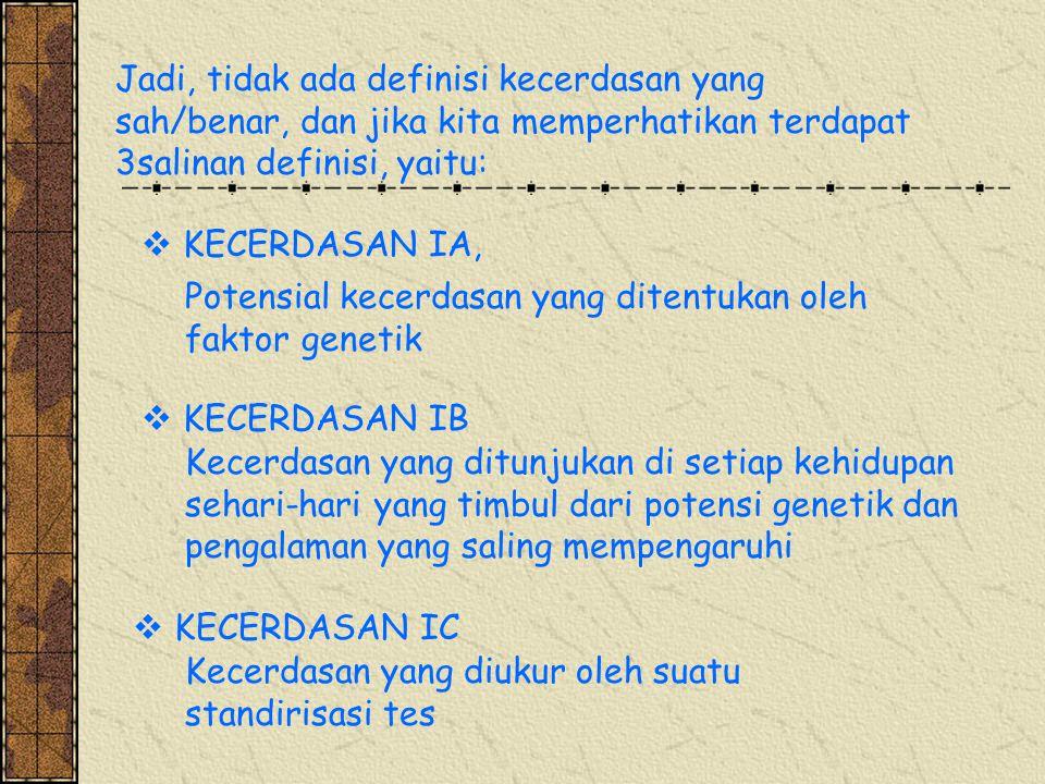 Jadi, tidak ada definisi kecerdasan yang sah/benar, dan jika kita memperhatikan terdapat 3salinan definisi, yaitu: