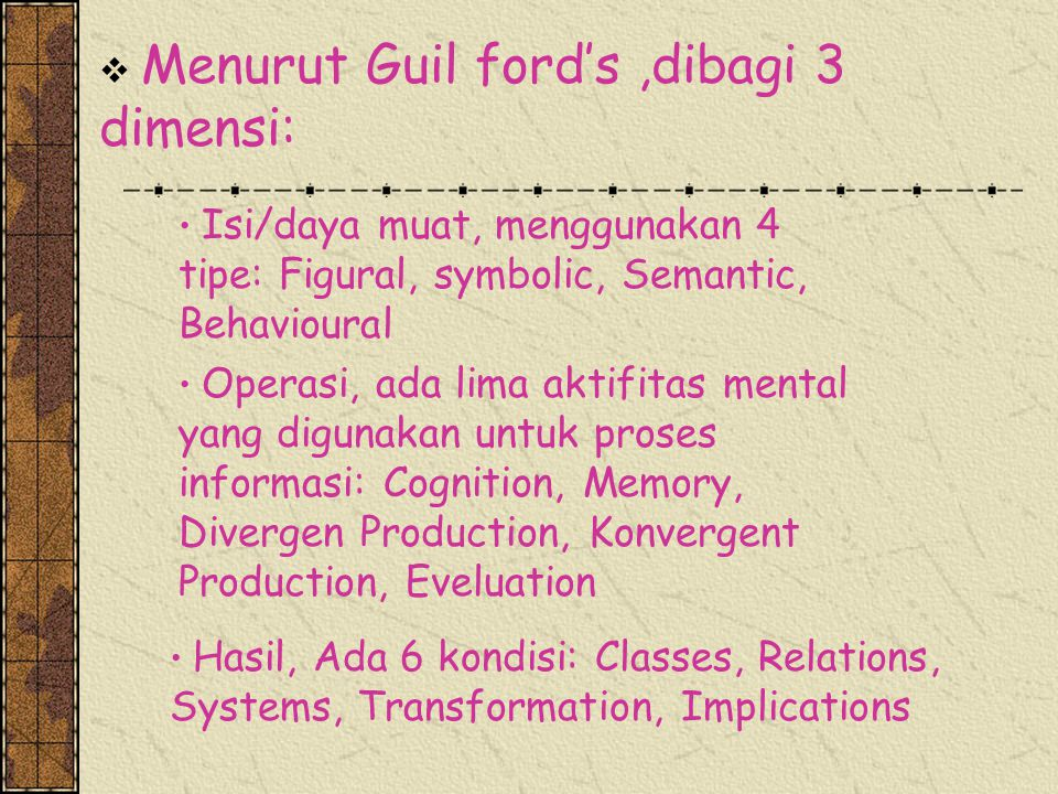 Menurut Guil ford's ,dibagi 3 dimensi: