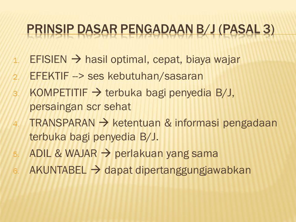 PRINSIP DASAR PENGADAAN B/J (pasal 3)