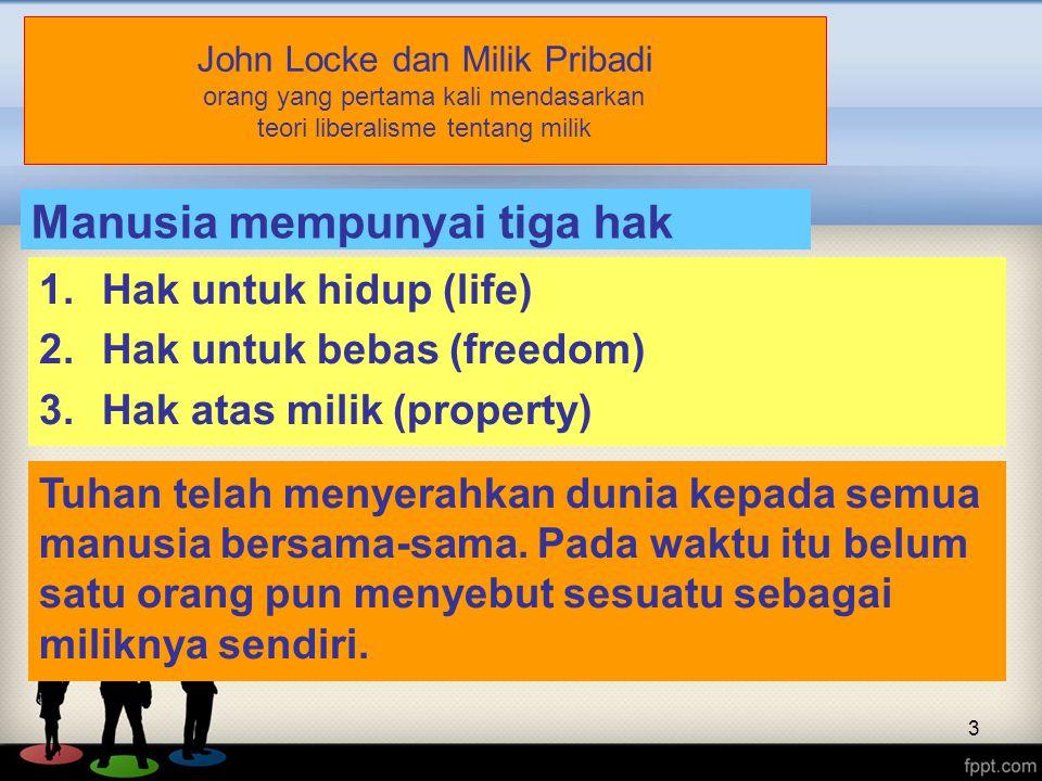 Manusia mempunyai tiga hak kodrat: