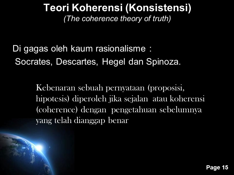 Teori Koherensi (Konsistensi) (The coherence theory of truth)