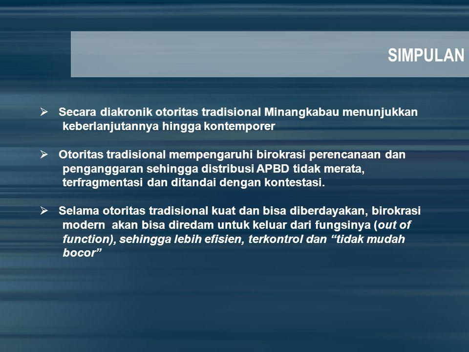 SIMPULAN Secara diakronik otoritas tradisional Minangkabau menunjukkan