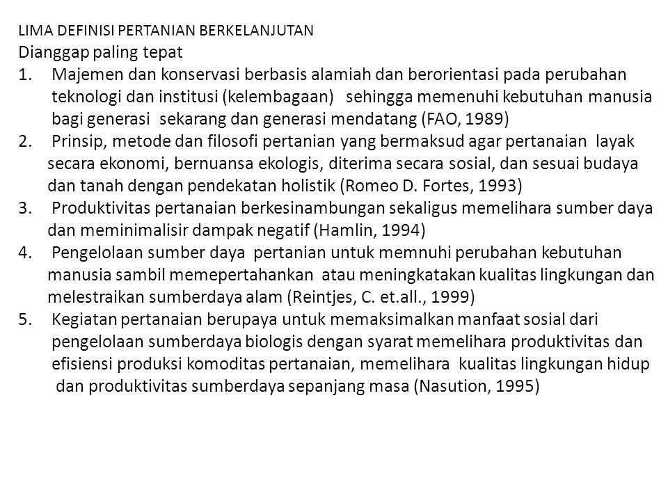 bagi generasi sekarang dan generasi mendatang (FAO, 1989)