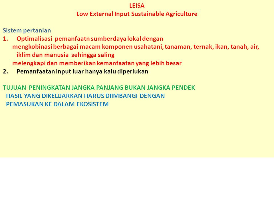 Low External Input Sustainable Agriculture