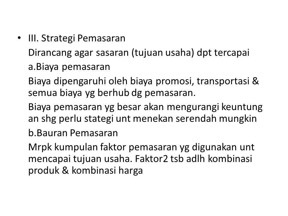III. Strategi Pemasaran