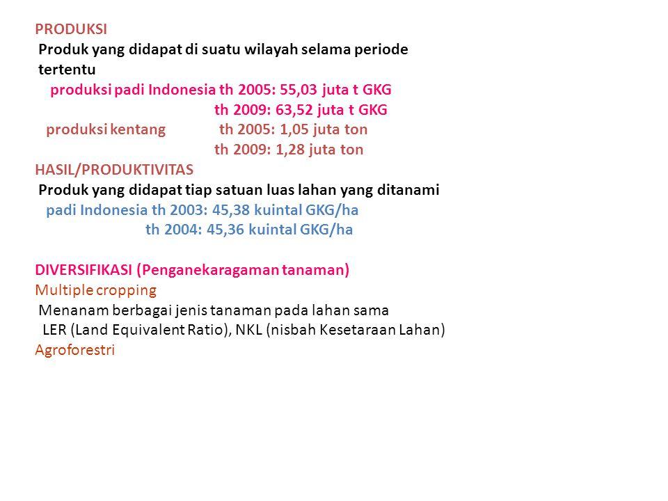 PRODUKSI Produk yang didapat di suatu wilayah selama periode. tertentu. produksi padi Indonesia th 2005: 55,03 juta t GKG.
