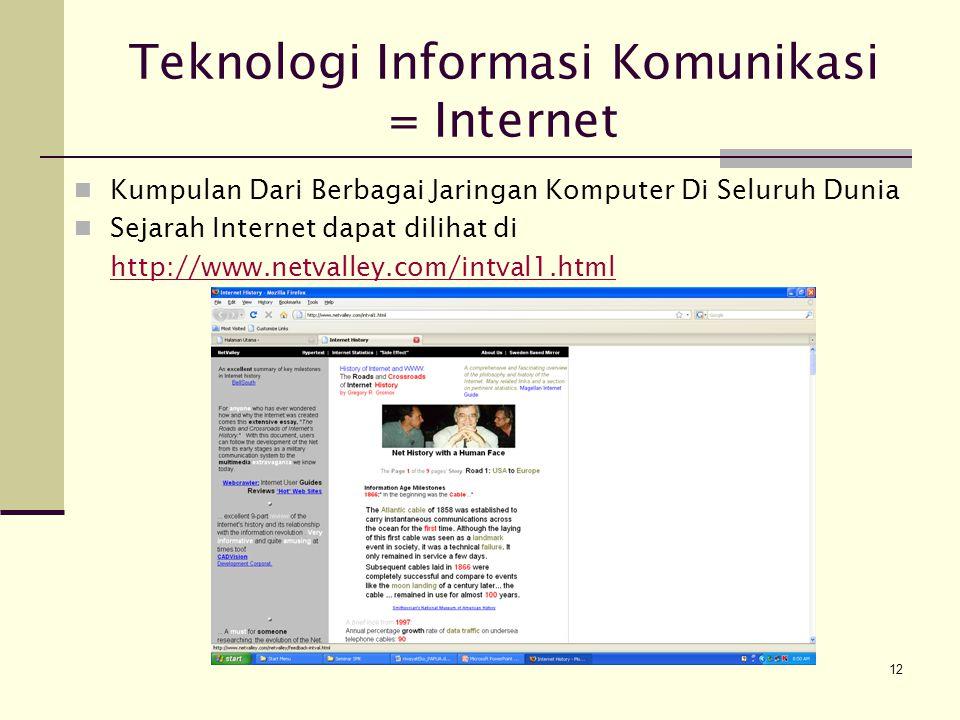 Teknologi Informasi Komunikasi = Internet