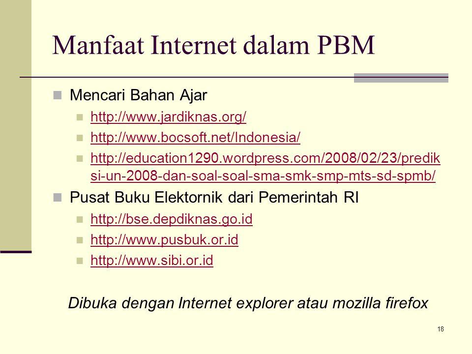 Manfaat Internet dalam PBM