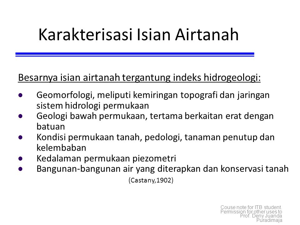 Karakterisasi Isian Airtanah