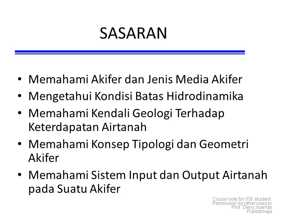 SASARAN Memahami Akifer dan Jenis Media Akifer