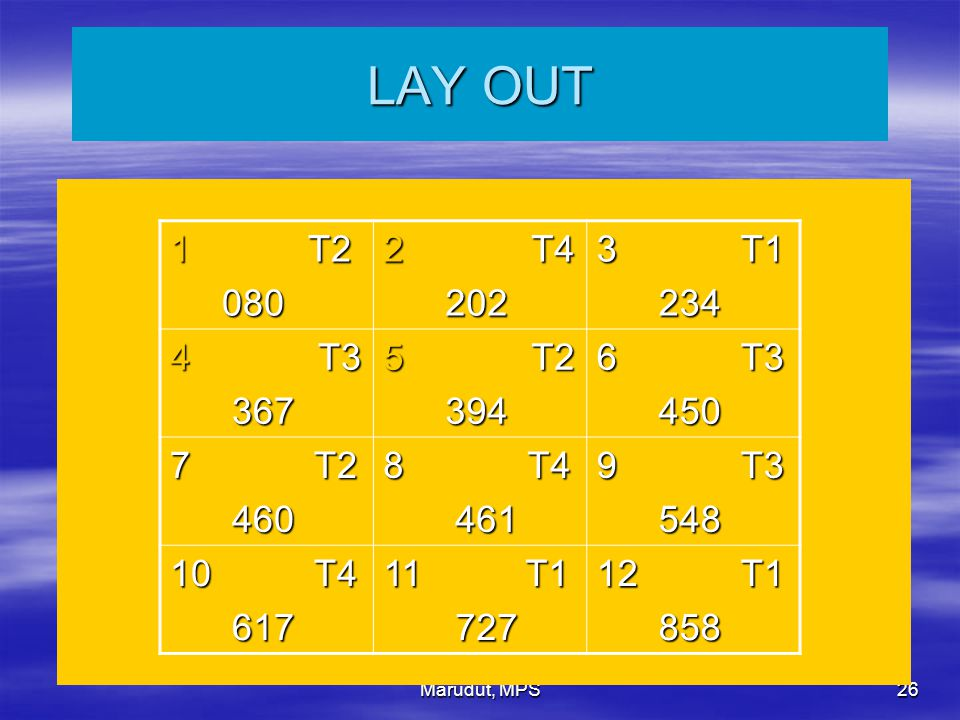LAY OUT T2. 080. T4. 202. 3 T1. 234. T3. 367. 394. 6 T3. 450. 7 T2.
