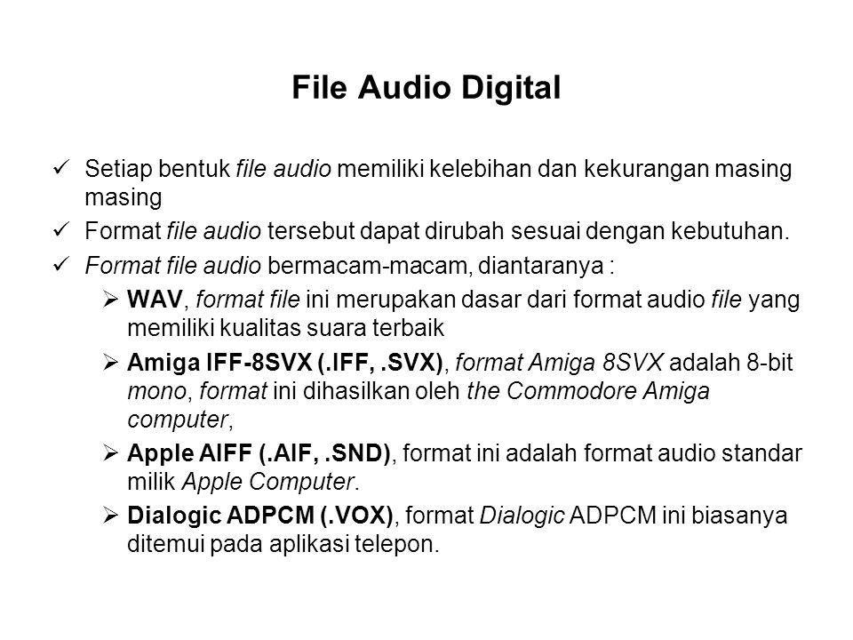 File Audio Digital Setiap bentuk file audio memiliki kelebihan dan kekurangan masing masing.