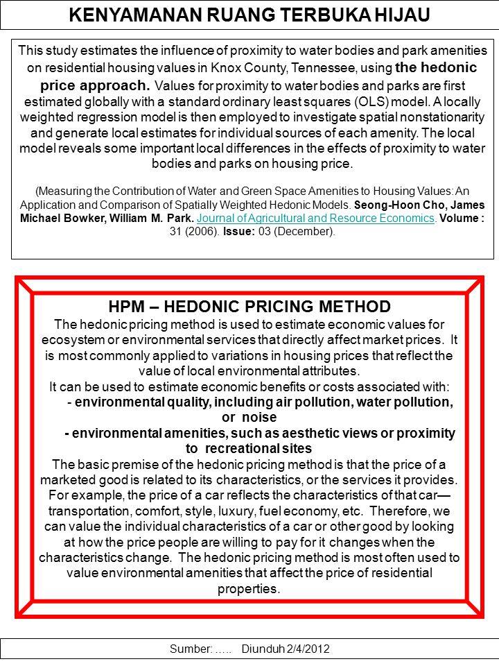KENYAMANAN RUANG TERBUKA HIJAU HPM – HEDONIC PRICING METHOD