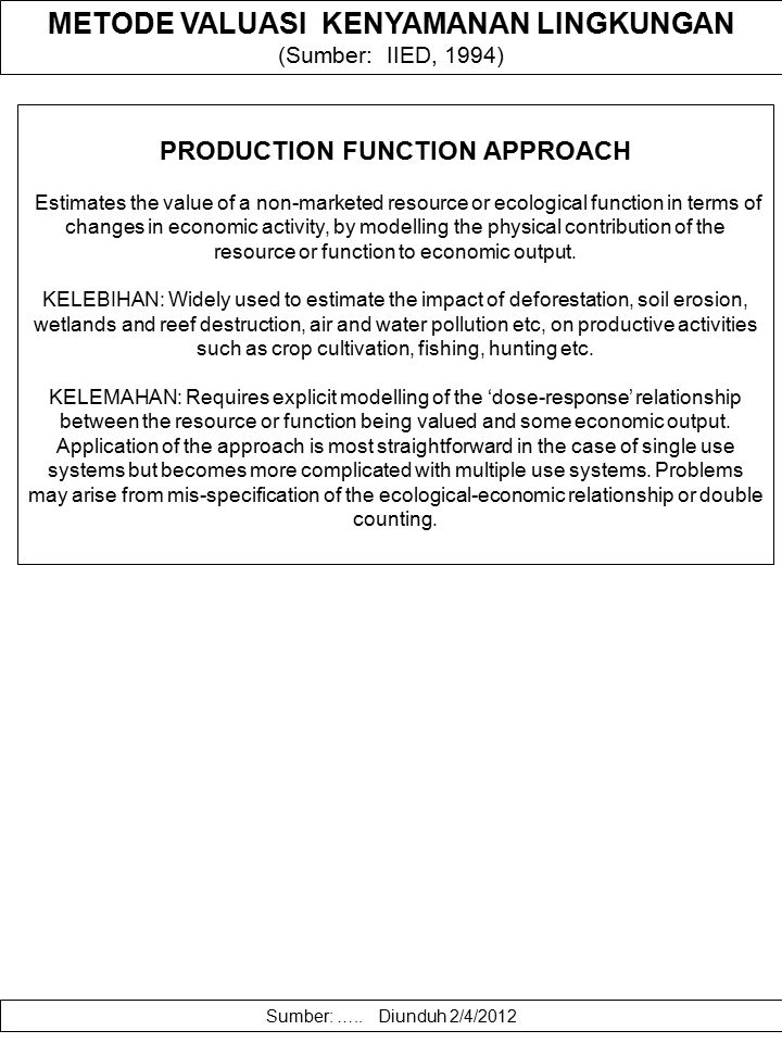 PRODUCTION FUNCTION APPROACH