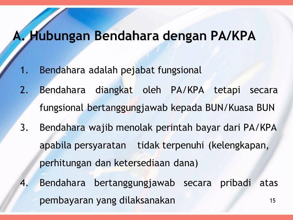 A. Hubungan Bendahara dengan PA/KPA