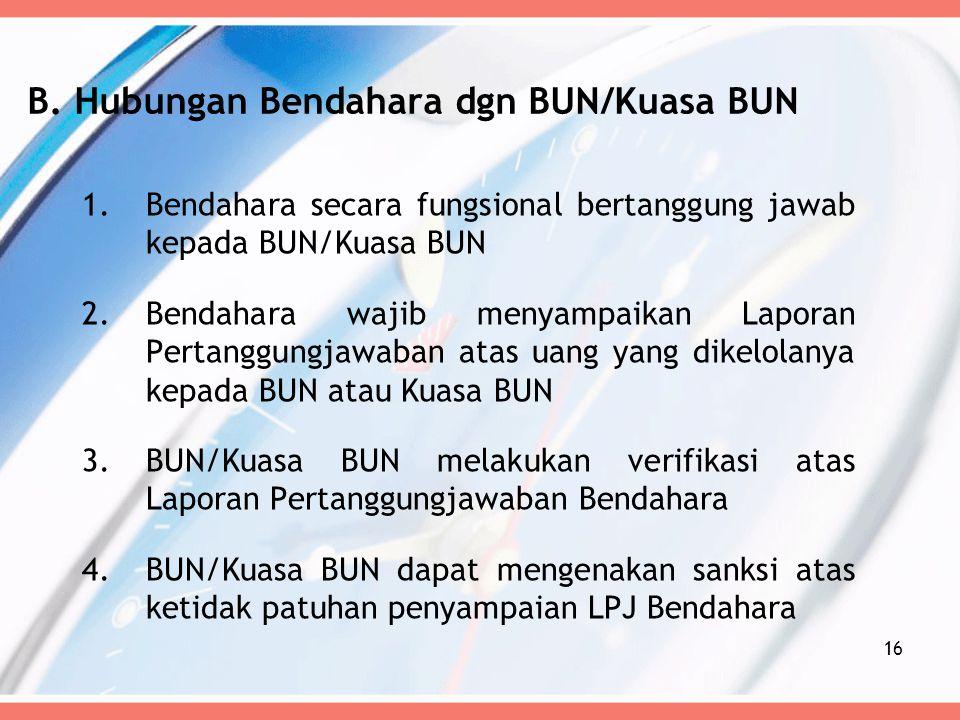 B. Hubungan Bendahara dgn BUN/Kuasa BUN
