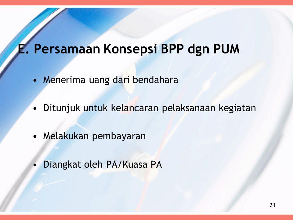 E. Persamaan Konsepsi BPP dgn PUM