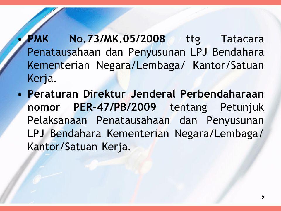 PMK No.73/MK.05/2008 ttg Tatacara Penatausahaan dan Penyusunan LPJ Bendahara Kementerian Negara/Lembaga/ Kantor/Satuan Kerja.