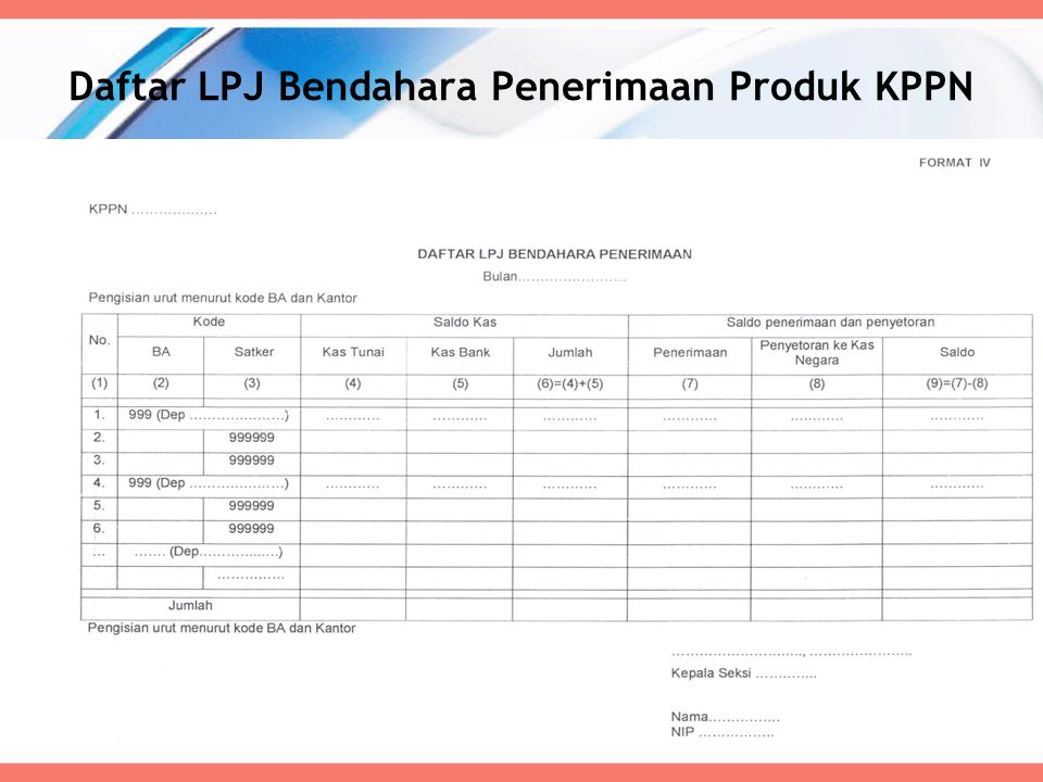 Daftar LPJ Bendahara Penerimaan Produk KPPN