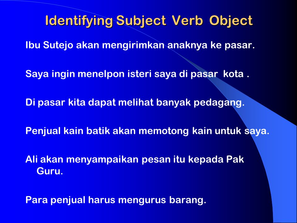 Identifying Subject Verb Object