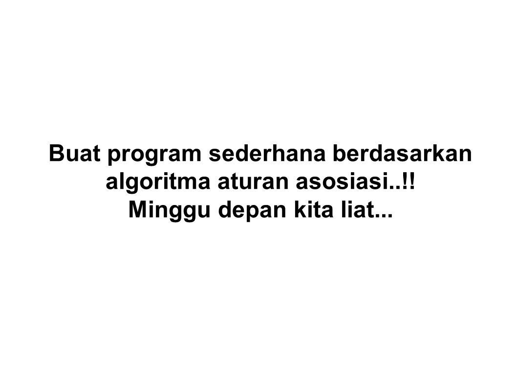 Buat program sederhana berdasarkan algoritma aturan asosiasi