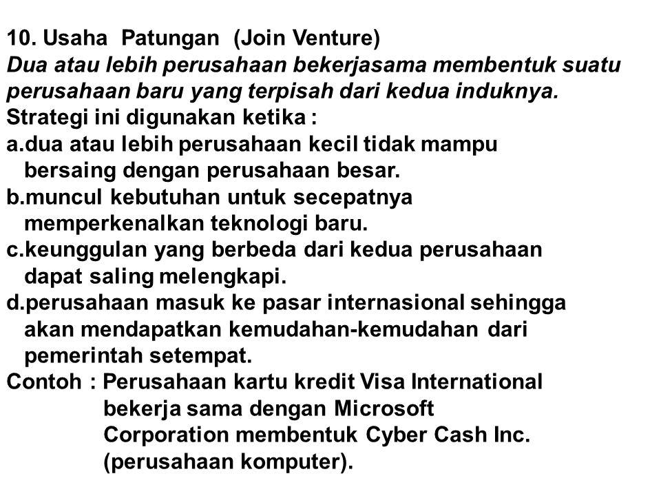 10. Usaha Patungan (Join Venture)