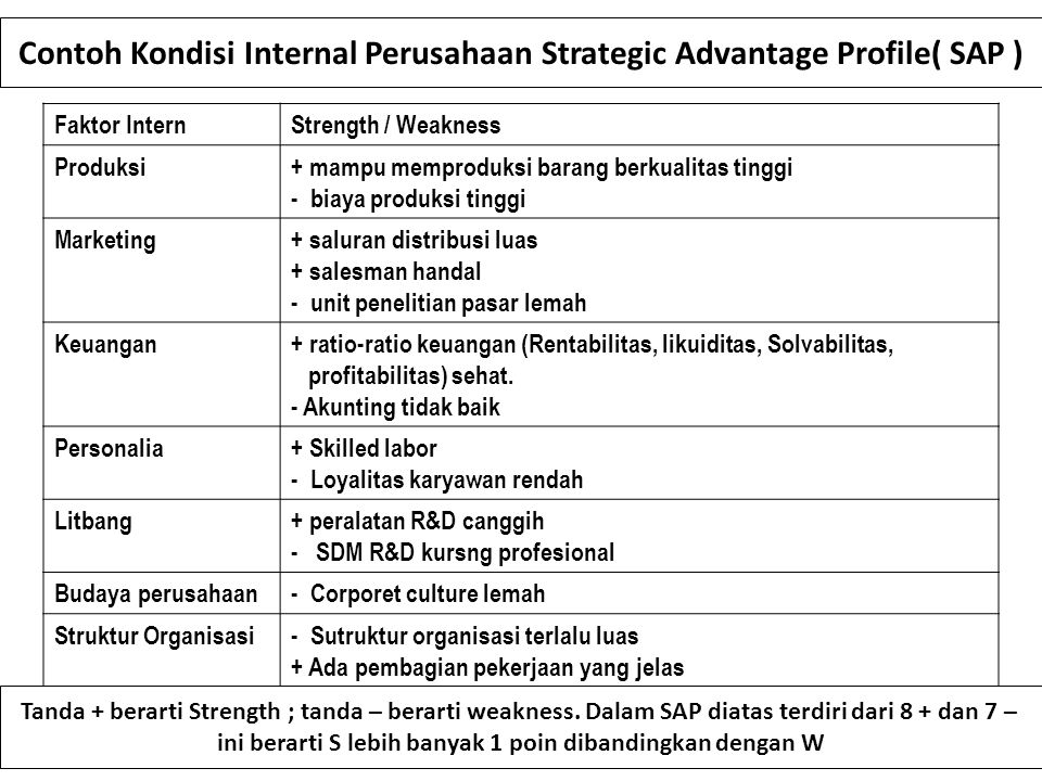 Contoh Kondisi Internal Perusahaan Strategic Advantage Profile( SAP )
