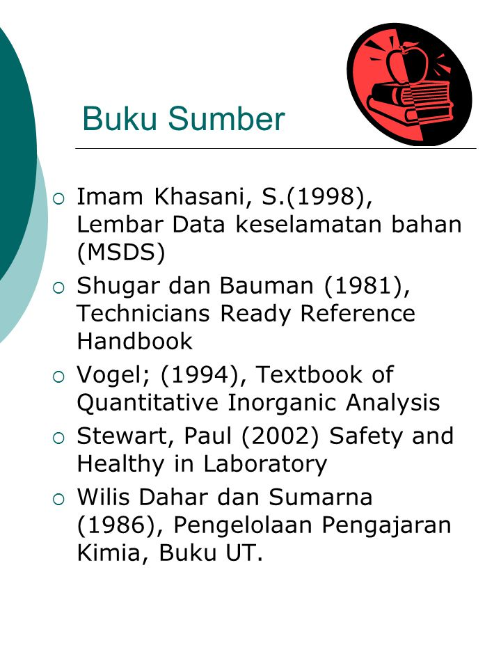 Buku Sumber Imam Khasani, S.(1998), Lembar Data keselamatan bahan (MSDS) Shugar dan Bauman (1981), Technicians Ready Reference Handbook.