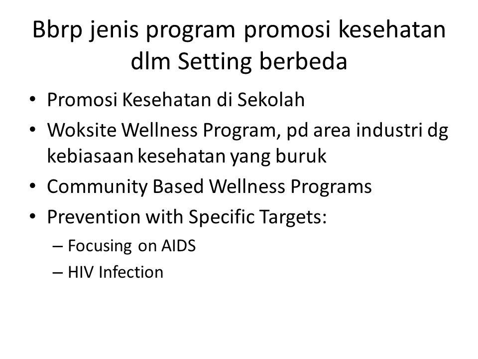 Bbrp jenis program promosi kesehatan dlm Setting berbeda