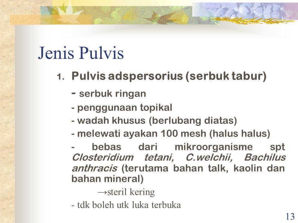 Jenis Pulvis - serbuk ringan Pulvis adspersorius (serbuk tabur)
