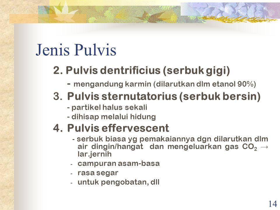 Jenis Pulvis 2. Pulvis dentrificius (serbuk gigi)