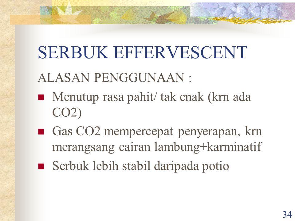 SERBUK EFFERVESCENT ALASAN PENGGUNAAN :