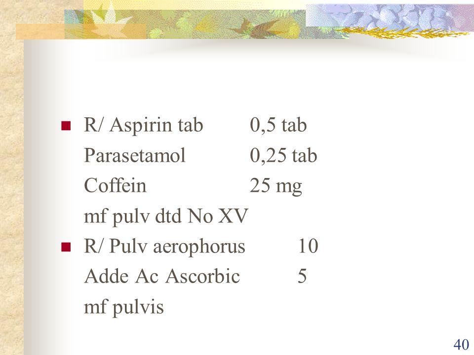 R/ Aspirin tab 0,5 tab Parasetamol 0,25 tab. Coffein 25 mg. mf pulv dtd No XV. R/ Pulv aerophorus 10.
