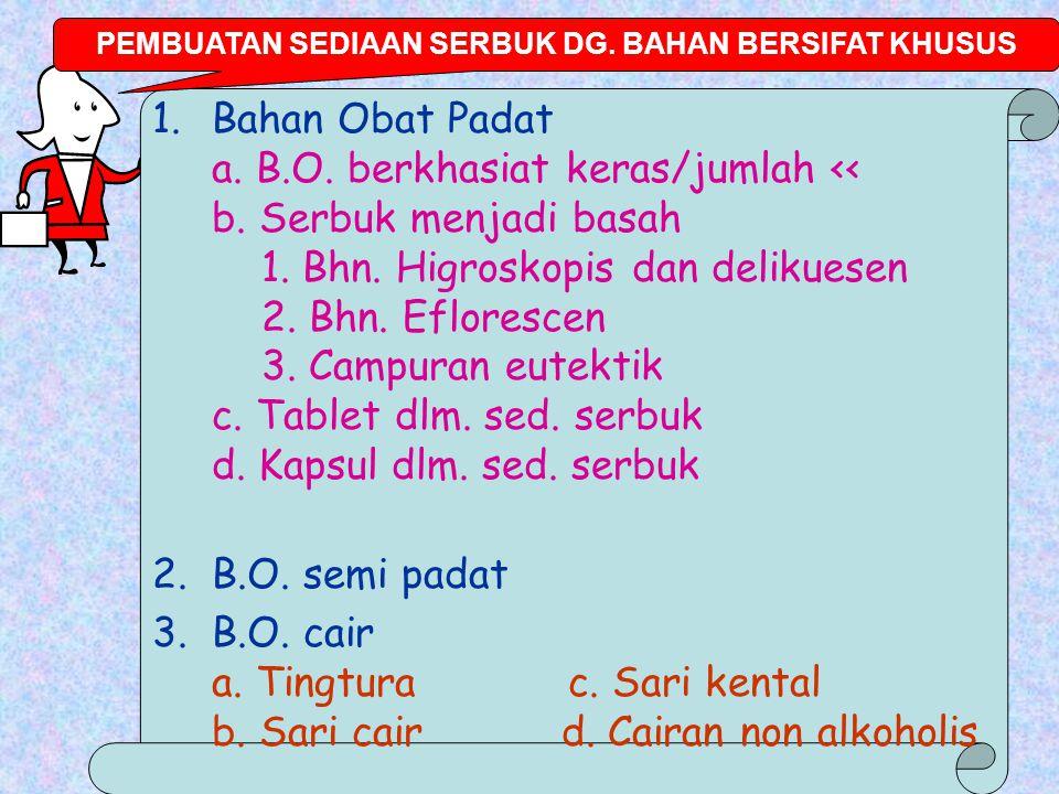 PEMBUATAN SEDIAAN SERBUK DG. BAHAN BERSIFAT KHUSUS