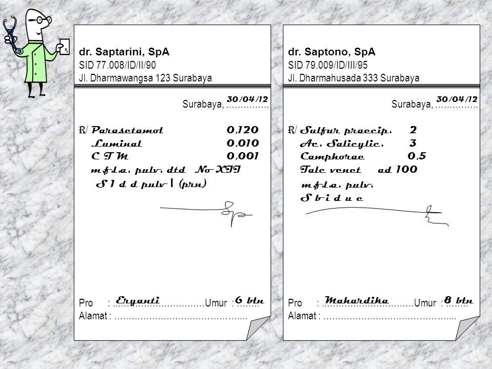 m.f.l.a. pulv. dr. Saptarini, SpA SID 77.008/ID/II/90