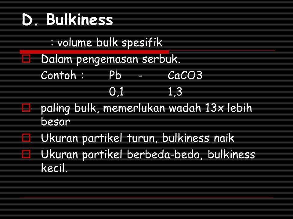 D. Bulkiness : volume bulk spesifik Dalam pengemasan serbuk.